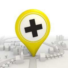 Stylish cross pictorgram inside a yellow map pointer