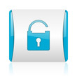padlock blue and white square web glossy icon