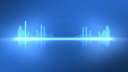 Cool Blue VU Thin Equalizer Waveform Meters