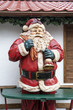 A Santa Claus statue as decoration for a Christmas Market stall