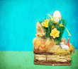 Vintage photo of easter basket