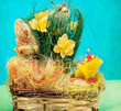 Vintage  basket with easter eggs