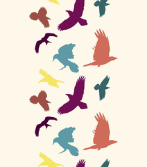 Colourful birds silhouettes vertical seamless pattern