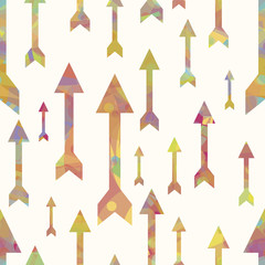 Colorful arrows seamless pattern over white background