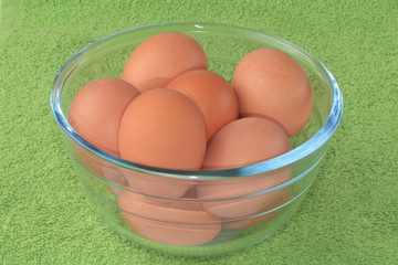 Chicken eggs in a glass bowl.