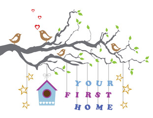 Your first home house moving-in greeting card