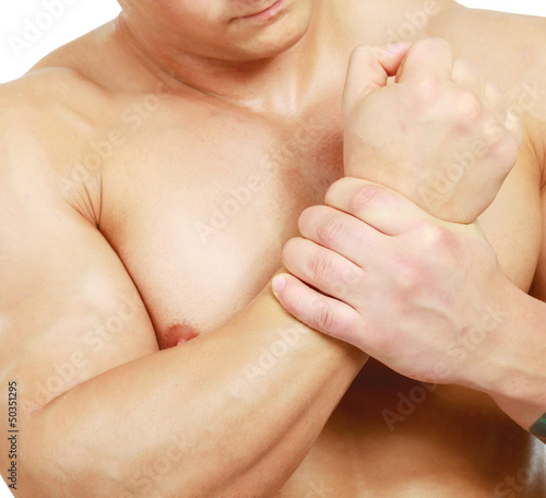 young man holding his hand , isolated on white  background