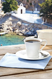 drinking coffee at a Greek island