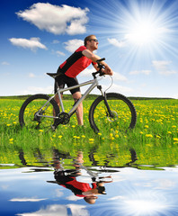 biker with the mountain bike in the dandelion field