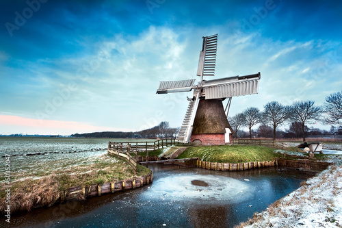 Dutch windmill in winter