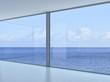 Empty 3d modern loft interior with sea / ocean view