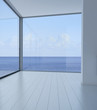 Empty 3d modern loft interior with sea / ocean view