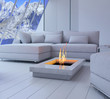 3d rendering of white living room with fireplace & mountain view