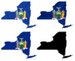 US New York state flag over map collage