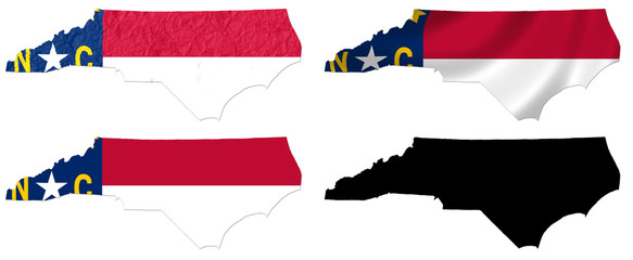 US North Carolina state flag over map collage