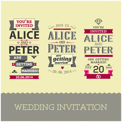 Set of wedding stamps invitations