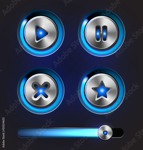 Set of vector media player elements