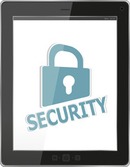 Data protection concept: tablet PC with chains and lock isolated
