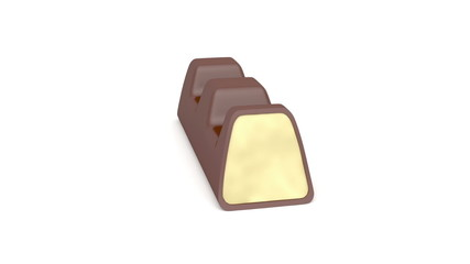 Milk chocolate bar rotates on white background