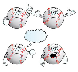 Collection of bored baseballs with various gestures.