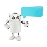 Robot with chat bubble. Isolated on white