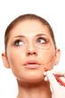 closeup woman face with surgery mark