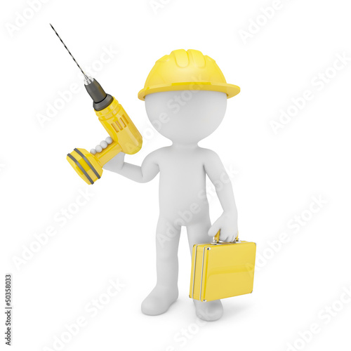 Worker with drill. Isolated on white