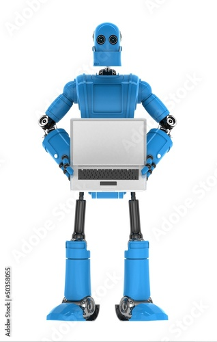 Robot holding laptop with copyspace available
