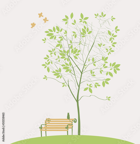 Spring tree with bench bird and cat