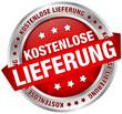 """Button Banner """"Kostenlose Lieferung"""" rot/silber"""