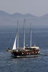 Old wooden clipper sails between Islands Brac and Hvar, Croatia