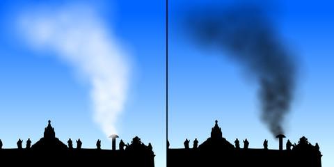 petersdom mit weissem/schwarzem rauch II