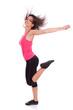 Young beautiful caucasian  fitness woman dancing