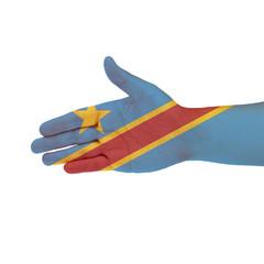 Congo flag on hand isolated on white background