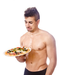 Fitness young man wants skip the diet