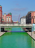 Downtown Indianapolis Canal dyed green for the St Patrick's Day