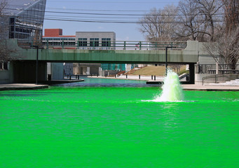Green Dyed Canal water Under The West Street Bridge