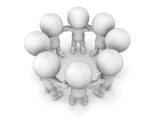 3D Men holding hands in circle teamwork concept