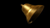 Large Golden Copper Bell swinging back and forth