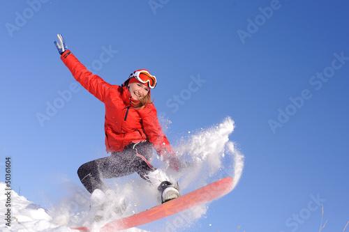 woman on snowboard