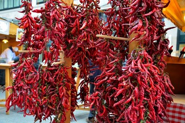 Hanging fresh dried paprika peppers