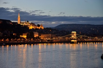 Budapest castle & bridge at night
