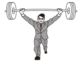重量挙げするビジネスマン