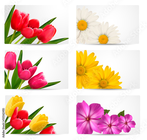 Big set of banners with spring and summer flowers. Vector illust