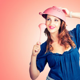 Cute Pinup Cook Thinking Up Colander Cooking Idea
