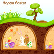vector illustration of bunny painting Happy Easter egg in
