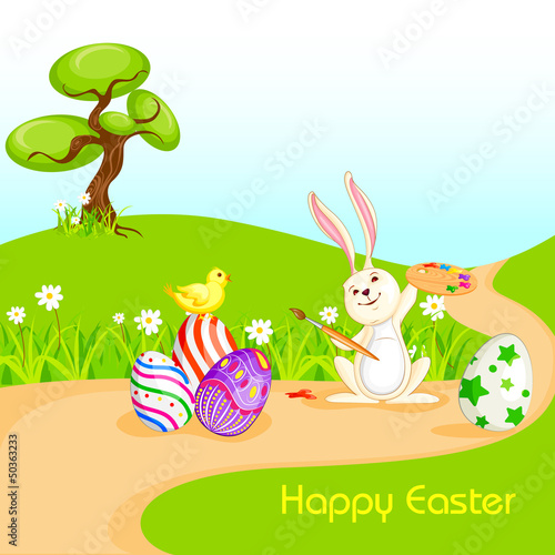 vector illustration of bunny painting Happy Easter eggs