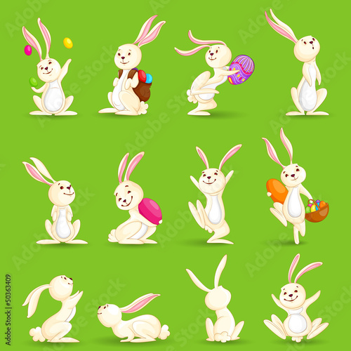 vector illustration of collection of Easter bunny