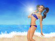 Cartoon girl on beach