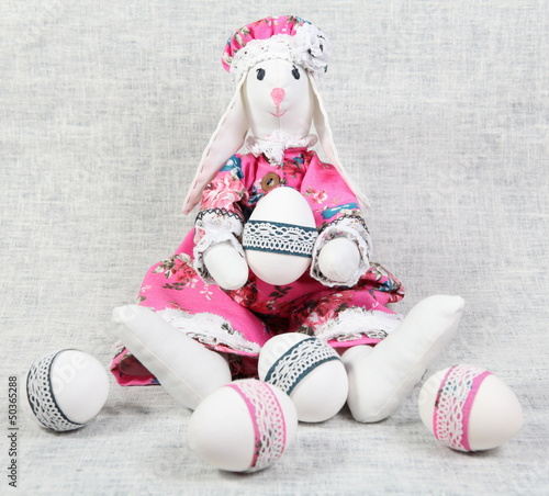 Easter Bunny Female Holding Decorated Egg